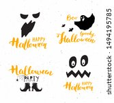 halloween greeting cards set.... | Shutterstock . vector #1494195785