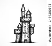 retro castle sketch  antique...   Shutterstock . vector #1494200975
