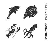 Ocean Animals Glyph Icons Set....