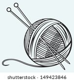 ball of yarn and needles... | Shutterstock .eps vector #149423846