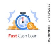 time is money concept  stack of ... | Shutterstock .eps vector #1494242132
