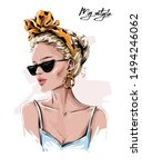 hand drawn beautiful young... | Shutterstock .eps vector #1494246062