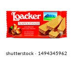Small photo of Pescara, Italy - September 2, 2019: LOACKER Napolitaner Wafers. Crispy wafers with smoothest Napolitaner hazelnut cream