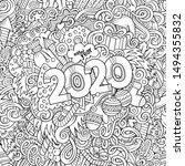 2020 hand drawn doodles contour ... | Shutterstock .eps vector #1494355832