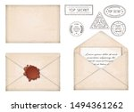 vintage envelope. letter with... | Shutterstock .eps vector #1494361262