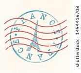 france stamp postal. tower... | Shutterstock .eps vector #1494416708