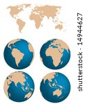 vector map and globe of the...   Shutterstock .eps vector #14944627