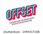 offset print style font design  ... | Shutterstock .eps vector #1494517238
