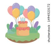 happy birthday cake vector... | Shutterstock .eps vector #1494523172