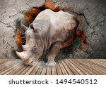 rhino breaks the wall in the... | Shutterstock . vector #1494540512