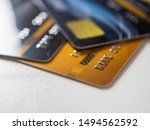 Closeup credit card on table.
