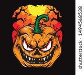 scary pumpkins halloween vector ... | Shutterstock .eps vector #1494568538
