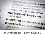 Small photo of Word or phrase Matter-of-fact in a dictionary