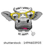 Cute Cow In A Yellow Glasses...