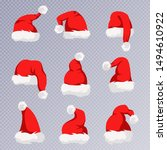 christmas santa claus hats with ... | Shutterstock .eps vector #1494610922