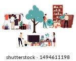 cartoon people buying things in ... | Shutterstock .eps vector #1494611198