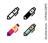 pen logo icon design in four...
