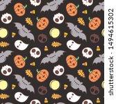 seamless halloween pattern with ... | Shutterstock .eps vector #1494615302