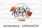 autumn calligraphy on white... | Shutterstock .eps vector #1494649235