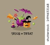 trick or treat. halloween card... | Shutterstock .eps vector #1494653168
