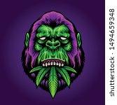 Purple Gorilla Mascot Vector...
