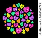 cute childish bright eye... | Shutterstock .eps vector #1494664775