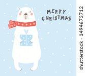 hand drawn card with cute polar ...   Shutterstock .eps vector #1494673712