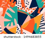 floral paper cut shapes in red  ... | Shutterstock .eps vector #1494683855