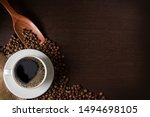 Coffee Cup And Beans Placed O...