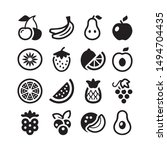 fruit icon set black and white  | Shutterstock . vector #1494704435