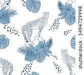 cheetah on rocks hand drawn... | Shutterstock .eps vector #1494729998