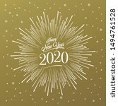 happy new year card with... | Shutterstock .eps vector #1494761528