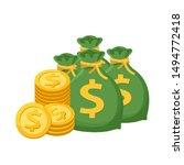 pile medal dollar and money bag ...   Shutterstock .eps vector #1494772418