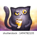 cat with coffe cup. morning mood | Shutterstock . vector #1494782135
