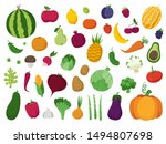 set of vegetables  fruits and... | Shutterstock .eps vector #1494807698