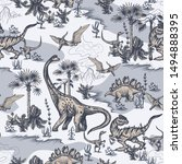 Seamless Pattern With Dinosaurs ...