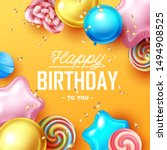 happy birthday background with... | Shutterstock .eps vector #1494908525