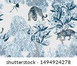seamless pattern cobalt blue... | Shutterstock .eps vector #1494924278