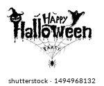 happy halloween text banner ... | Shutterstock .eps vector #1494968132