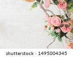 Stock photo the wooden swing decorated with artificial flowers 1495004345