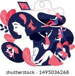 woman having nostalgic... | Shutterstock .eps vector #1495036268