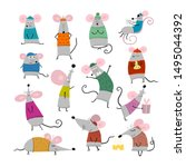 funny mouses  symbol of 2020... | Shutterstock .eps vector #1495044392