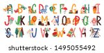 english alphabet with cute... | Shutterstock .eps vector #1495055492
