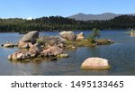 Small photo of Beautiful Dowdy lake, part of Red Feather lakes recreation area near Fort Collins, Colorado, on a bright sunny day
