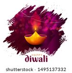 Stock vector website header or banner design with realistic oil lamp on purple background for diwali festival 1495137332