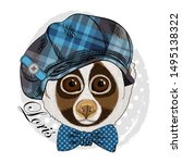 pretty lemur with glasses ... | Shutterstock .eps vector #1495138322