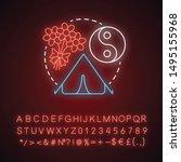 peace camp neon light concept... | Shutterstock .eps vector #1495155968