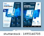 blue flyer template layout... | Shutterstock .eps vector #1495160705