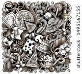 cartoon doodles italian food...   Shutterstock . vector #1495167155
