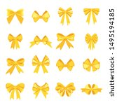 elegant yellow bows from a wide ... | Shutterstock .eps vector #1495194185